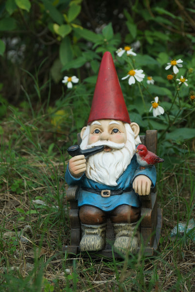 Gnome In Rocking Chair with Pipe and Bird