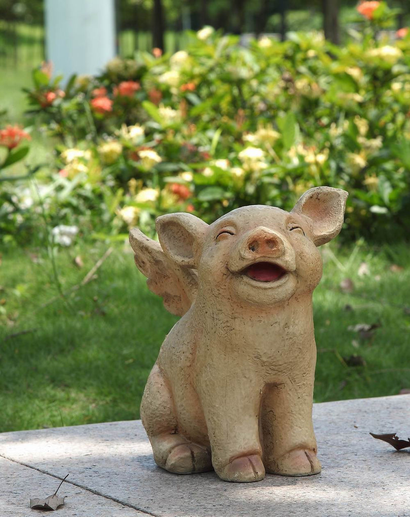 Pig with Wings Sitting Laughing