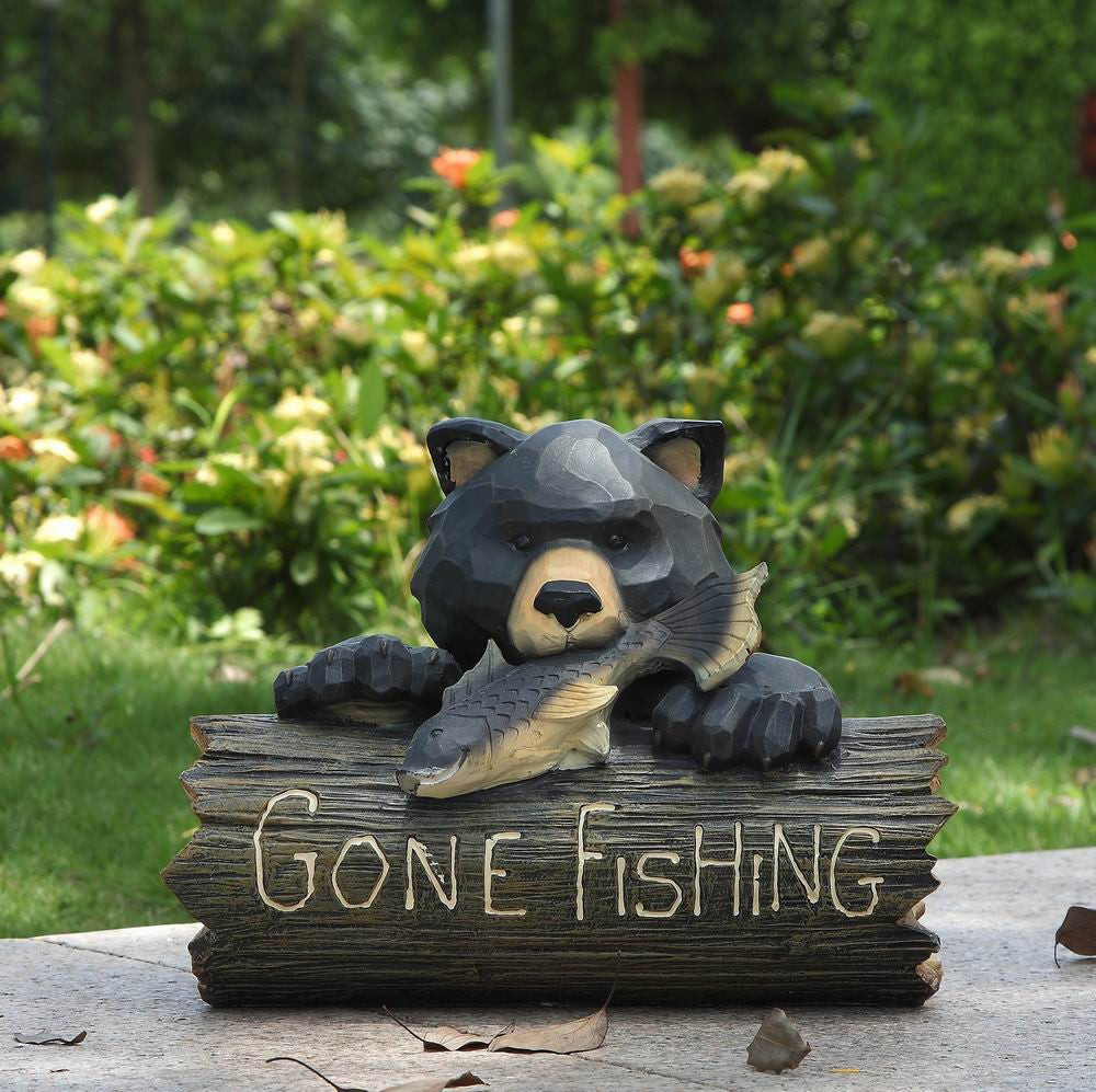 Bear with Gone Fishing Sign