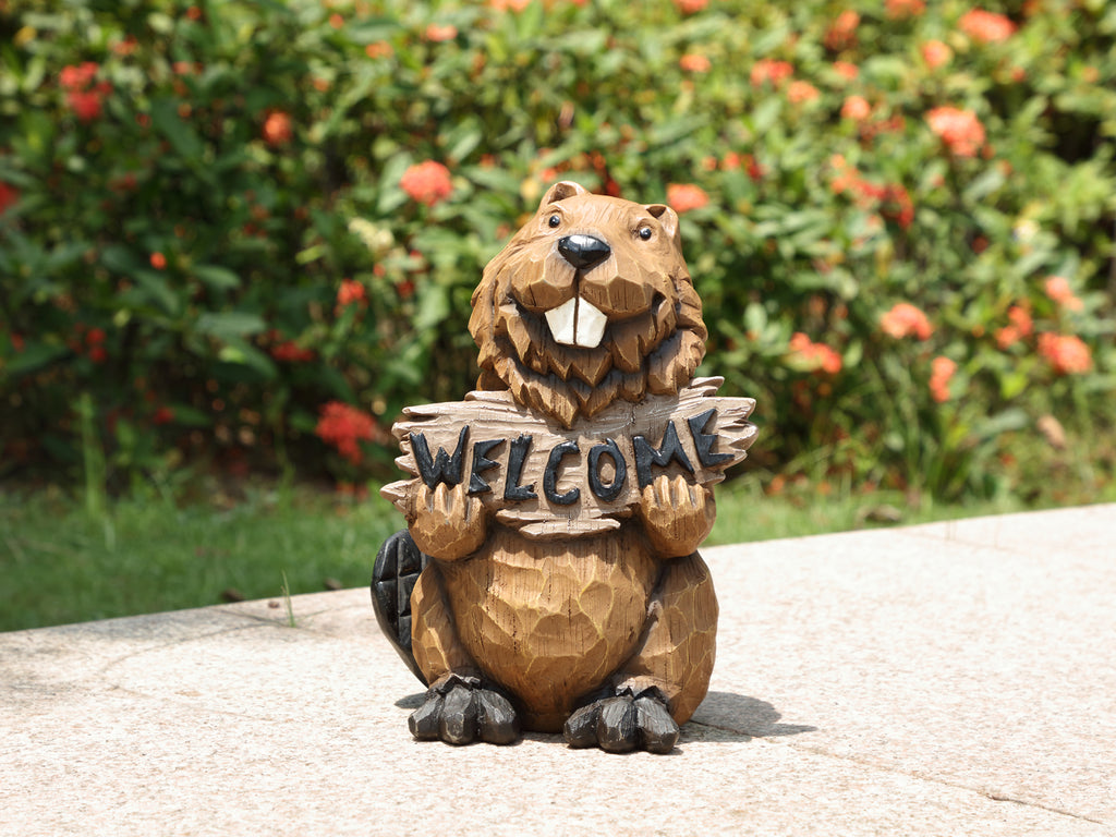 Beaver Holds Welcome Sign Statue