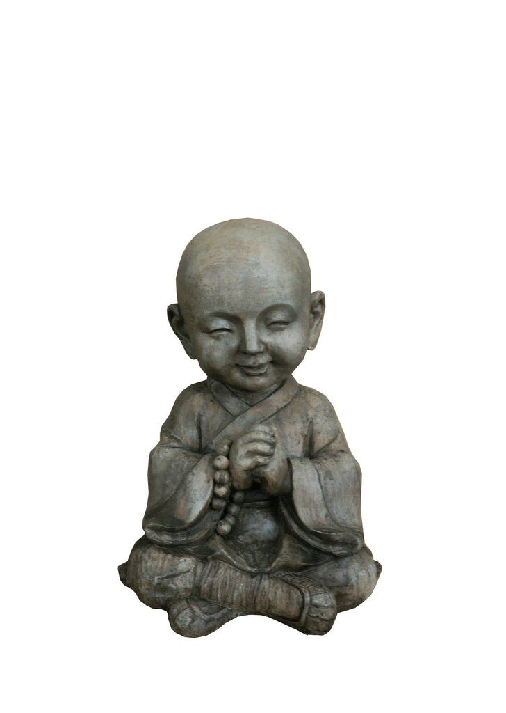 CLAYFIBRE-BUDDHA PRAYING W/BEADS