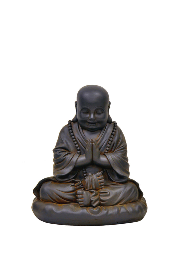Praying Buddha Garden Statue - Black