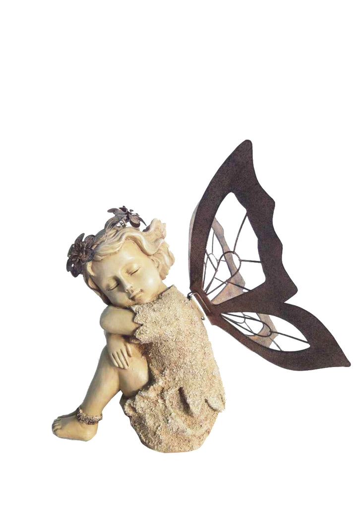 Resting Fairy Statue with Metal Wings