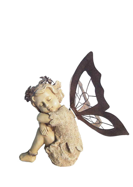 Buy resting fairy statue with metal wings for sale online in usa canada oakvalleydecor - Fairy statues for sale ...
