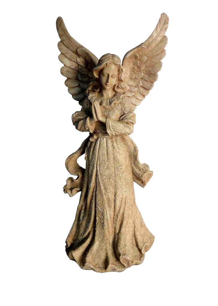 Praying Angel Garden Statue with Open Wings