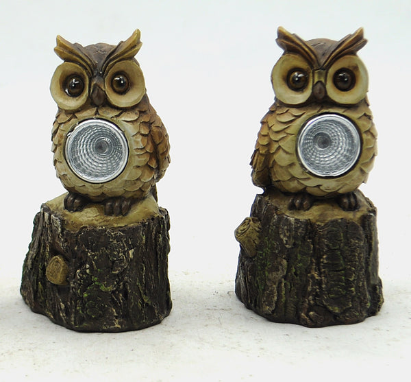 Owl on Stump Light - Solar LED - Set Of Two