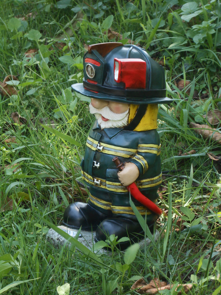 Buy Light Torch Fireman Gnome With Hose Solar Led For