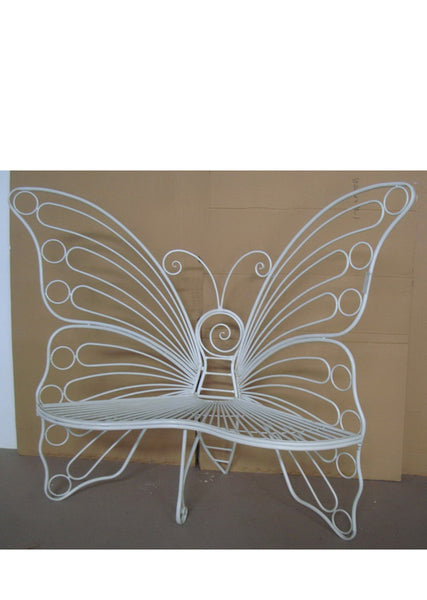 Butterfly Garden Bench - White