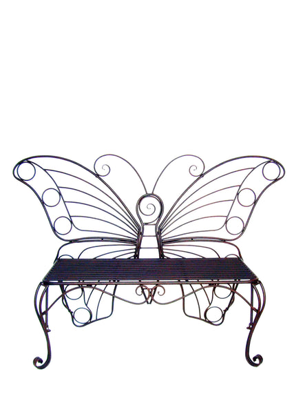 METAL GARDEN DECOR-BUTTERFLY BENCH-ANTIQUE BLACK