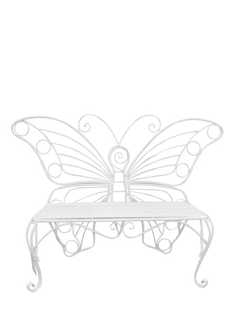 METAL GARDEN DECOR-BUTTERFLY BENCH-WHITE