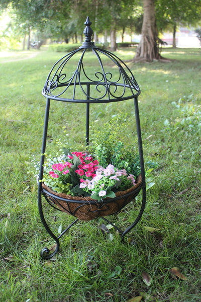 Metal Plant Stand-Planter with Decorative Cap