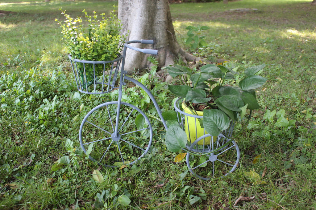 Metal Plant Stand-Tricycle with 2 Planters