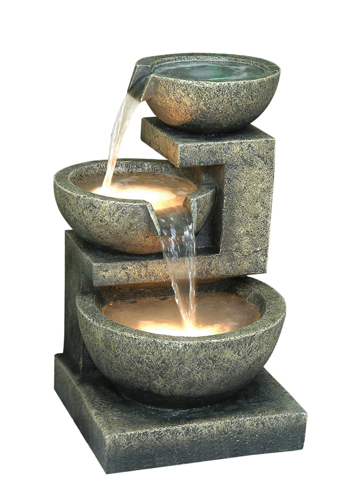 Cascading Bowl Fountain with LED Lights