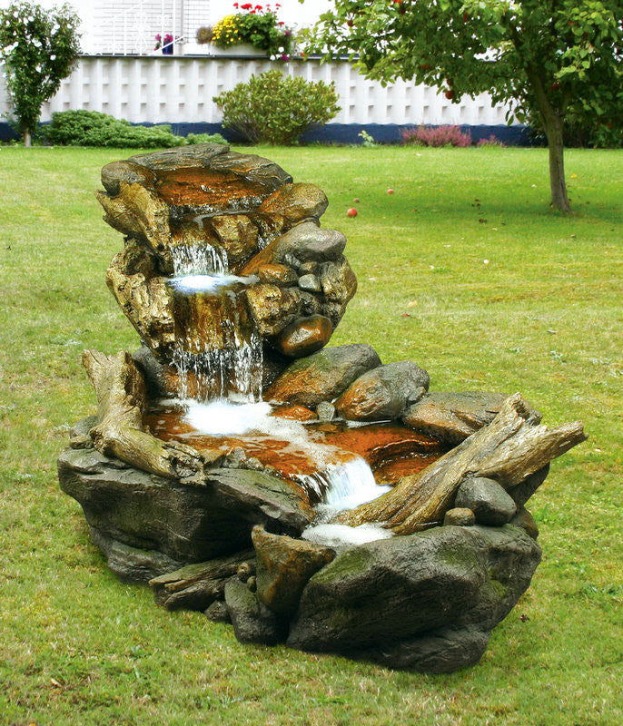 FOUNTAIN-STONE/BRANCH WATERFALL W/LED