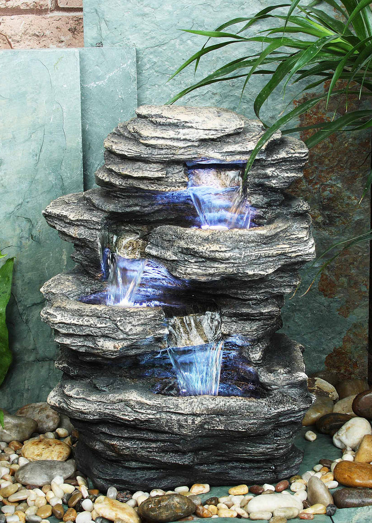 Slate Rocks Table Top Fountain with Lights