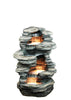 Tiered Rock Garden Fountain with Lights