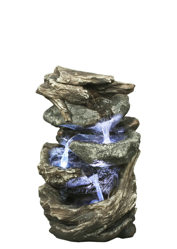 Log and Stone Waterfall Fountain with LED
