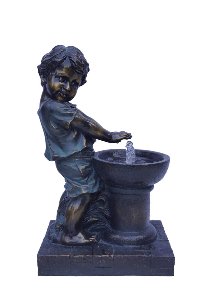 Fountain with Boy Playing at Fountain - Bronze Finish