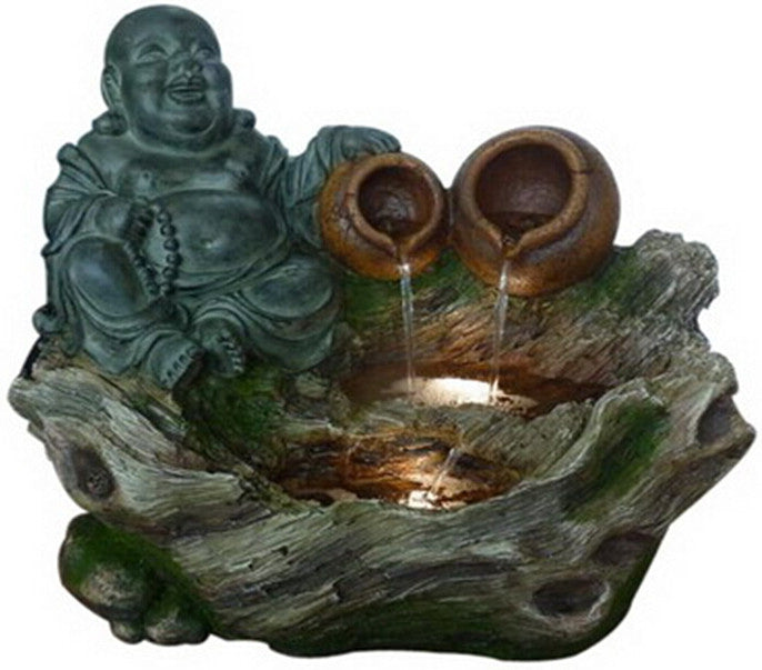Fountain-Buddha Sitting with 2 Pouring Jugs/LED