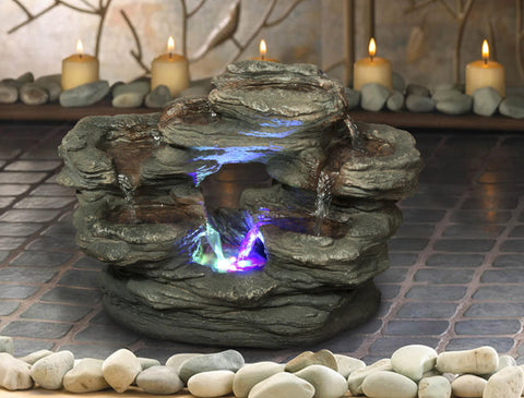 Multilevel Rocks Fountian with RGB LED Light