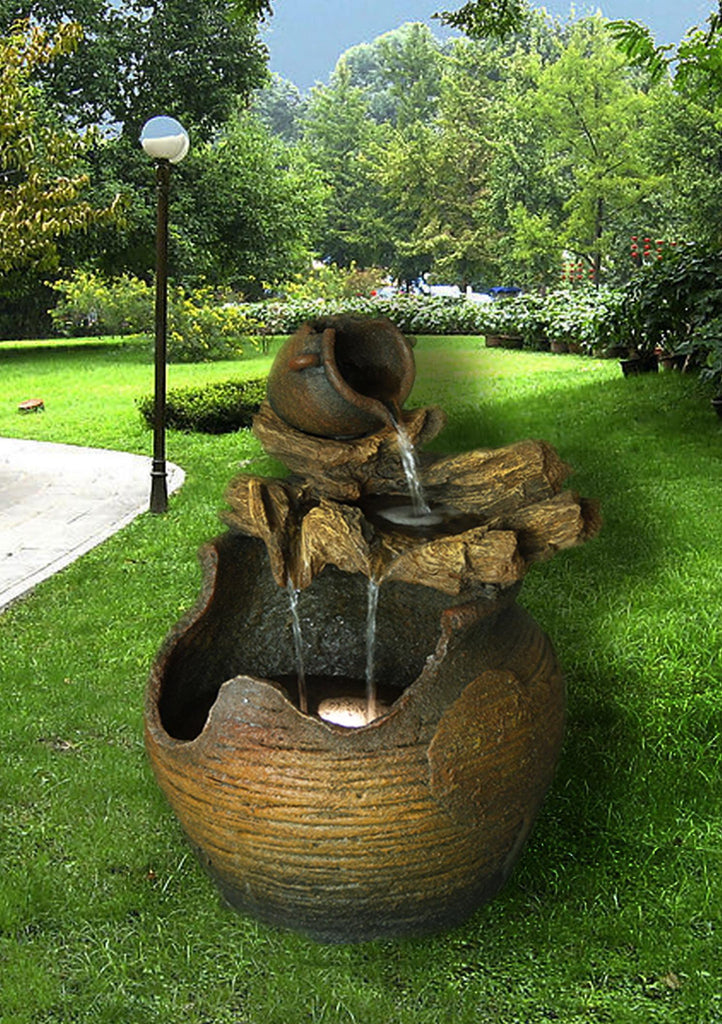 Fountain-Jug On Log Pouring Into Large Jug with LED