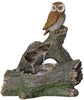 Fountain-Owl Perched On Log with LED