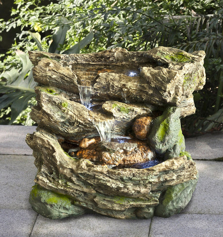 Fountain-Logs with Moss Waterfall with LED