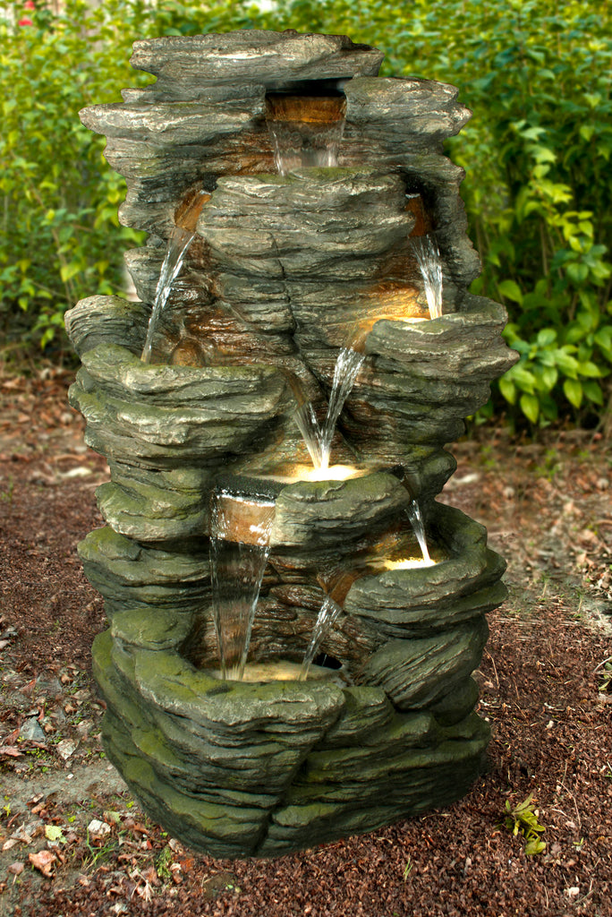FOUNTAIN ROCK MULTI LEVEL WITH LED WARM WHITE