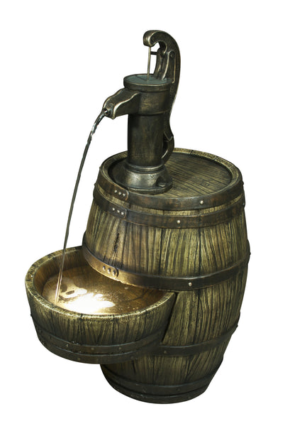 Fountain-Barrel with Pump & Light