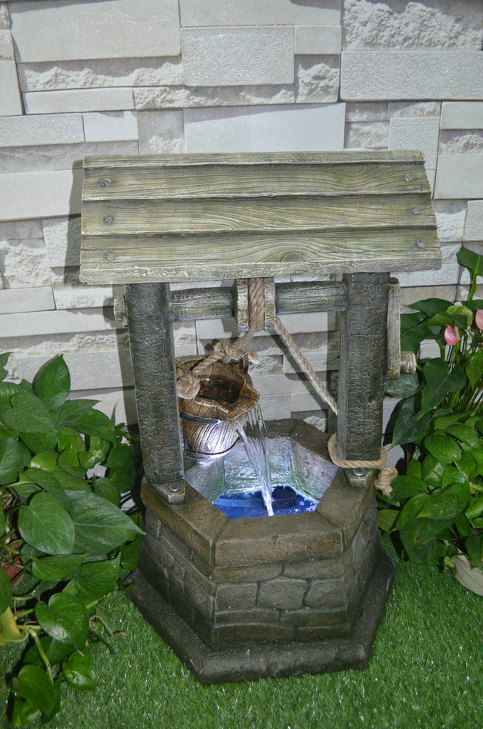 Fountain-Wishing Well with Pouring Bucket & LED