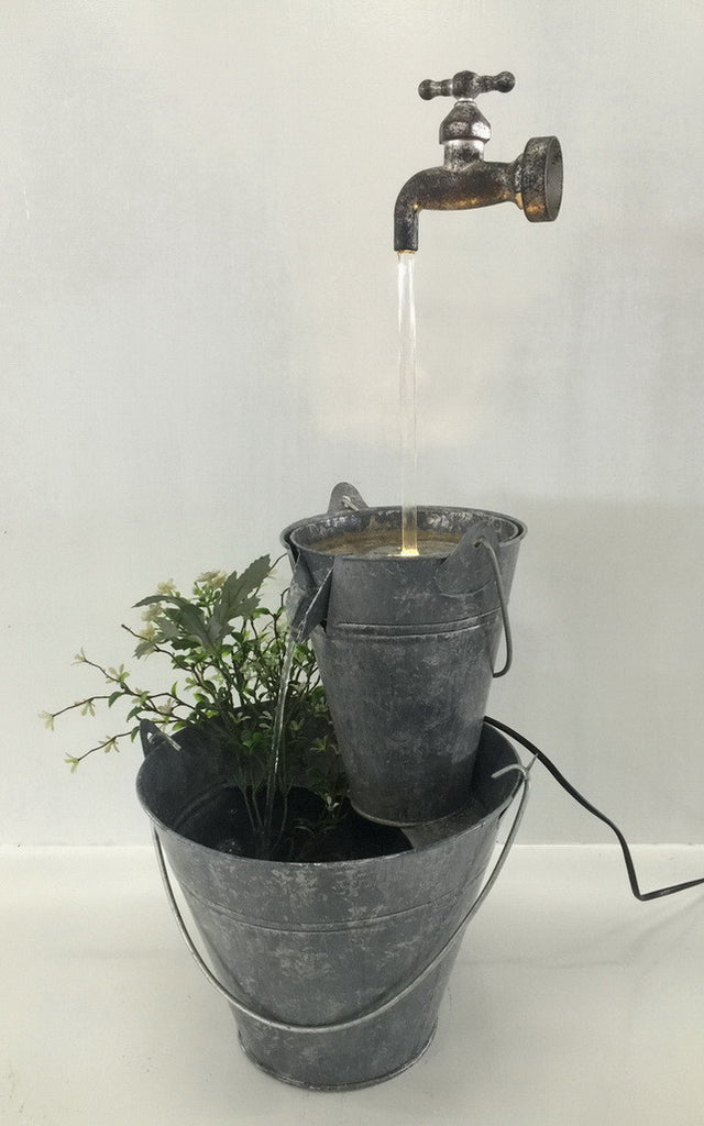 Fountain-Zinc Metal Pails with Tap/LED Light