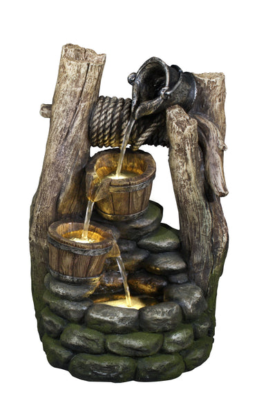 Fountain-Well with Pouring Pail 2 Buckets & 3 LEDs