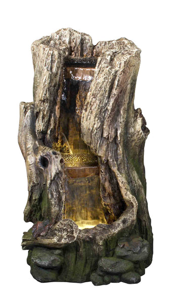 Fountain-Tree Trunk Waterfall with 2 LEDs