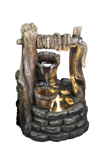 Fountain-Well with 2 Buckets & LED