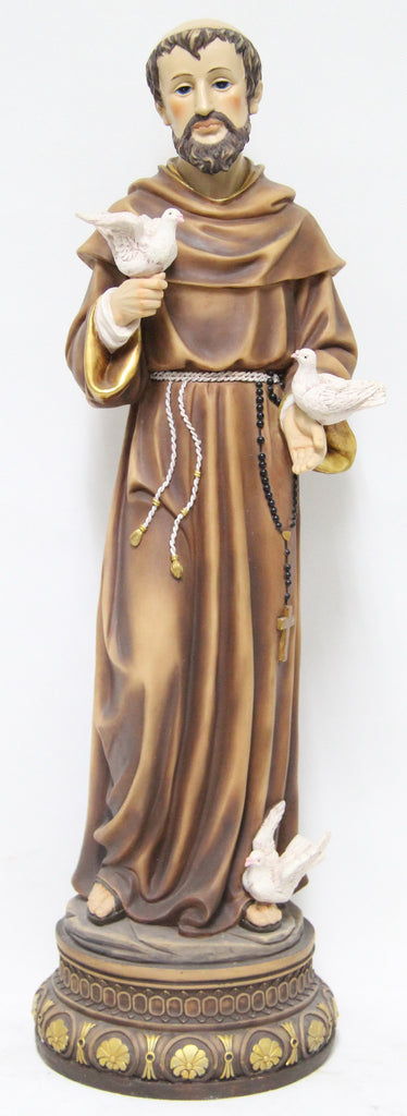 St Francis Statue with 3 Doves 24 Inch H