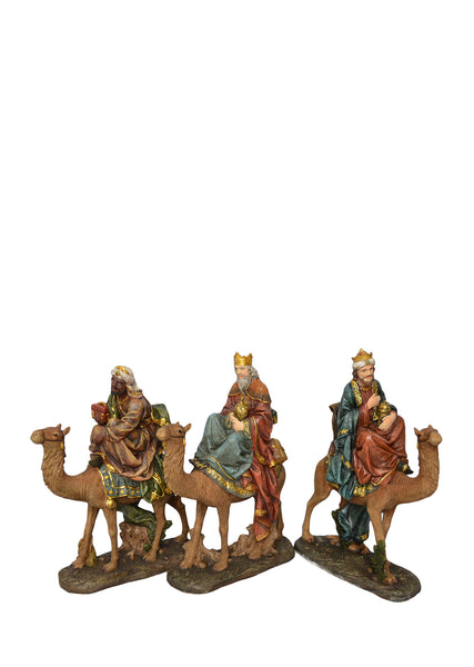 Three Wise Men on Camels Nativity Statues 24""