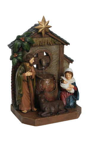 Nativity Scene Fountain with Pouring Jugs and Donkey
