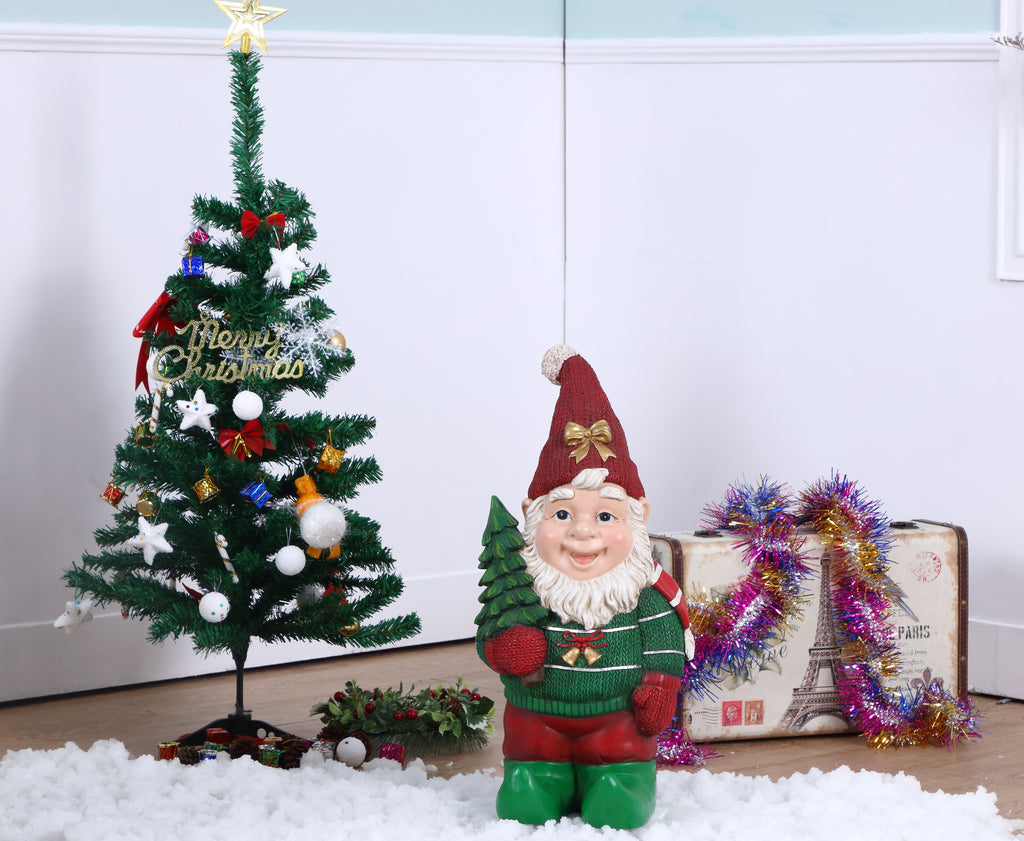 Elf Carrying Christmas Tree Statue