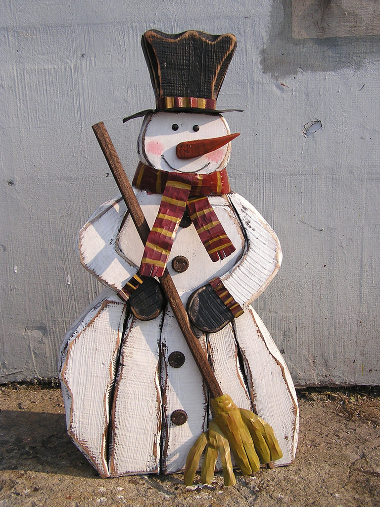 Wooden Snowman With Broom