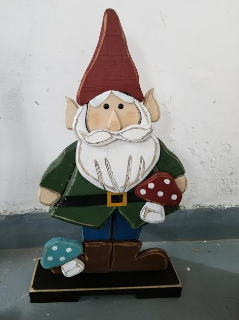 Wooden Gnome in Green Jacket with Mushrooms