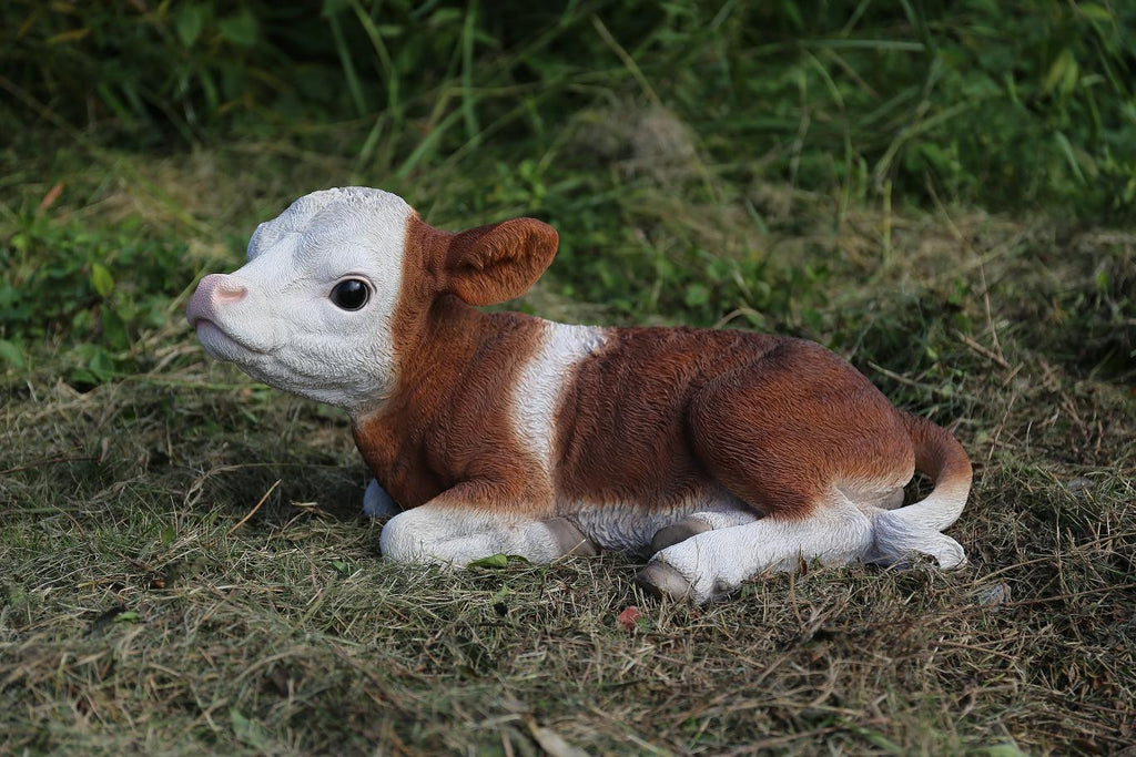 Cow Laying Down-Brown/White
