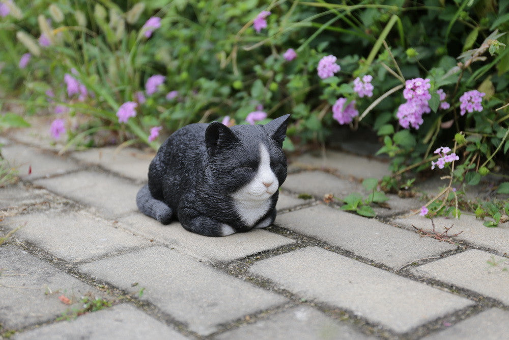Black and White Sleeping Cat Statue