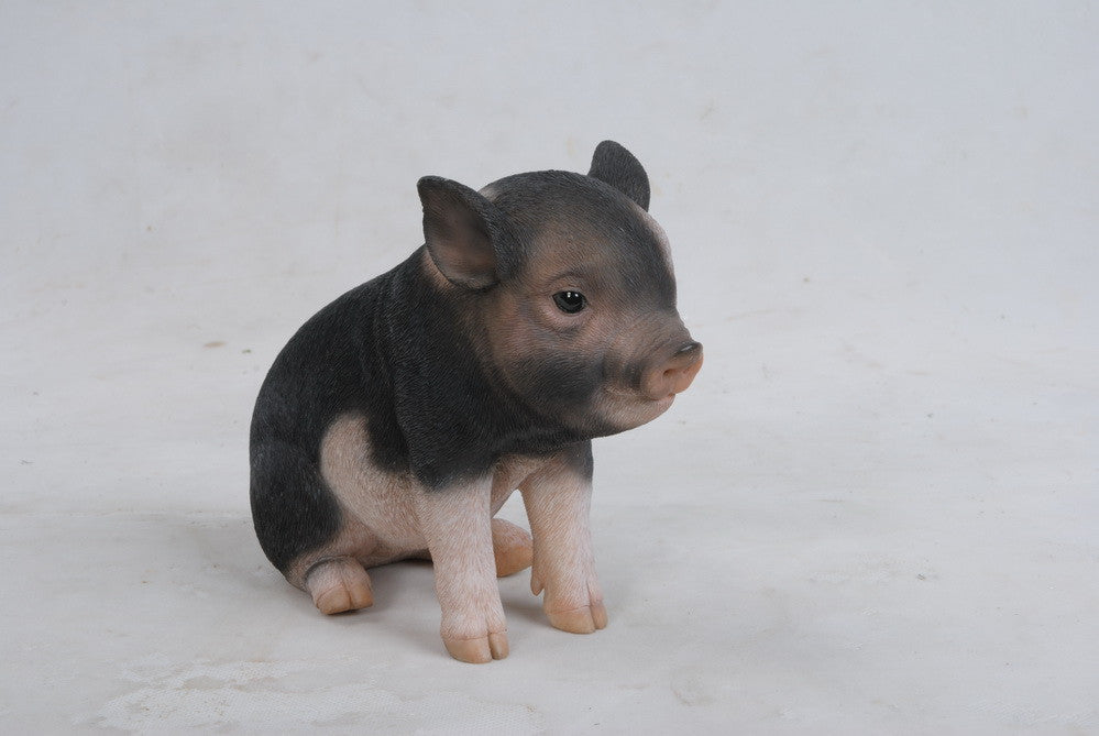 PIG - SITTING BABY PIG - DARK BROWN