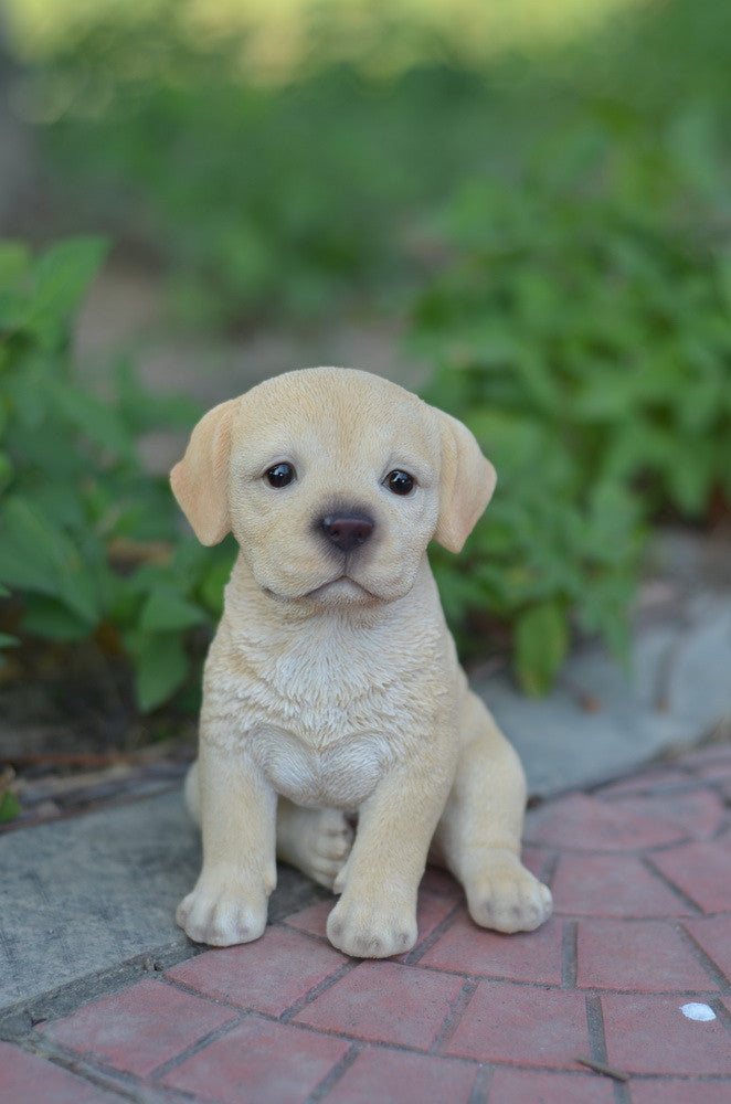 Yellow Labrador Puppy Statue
