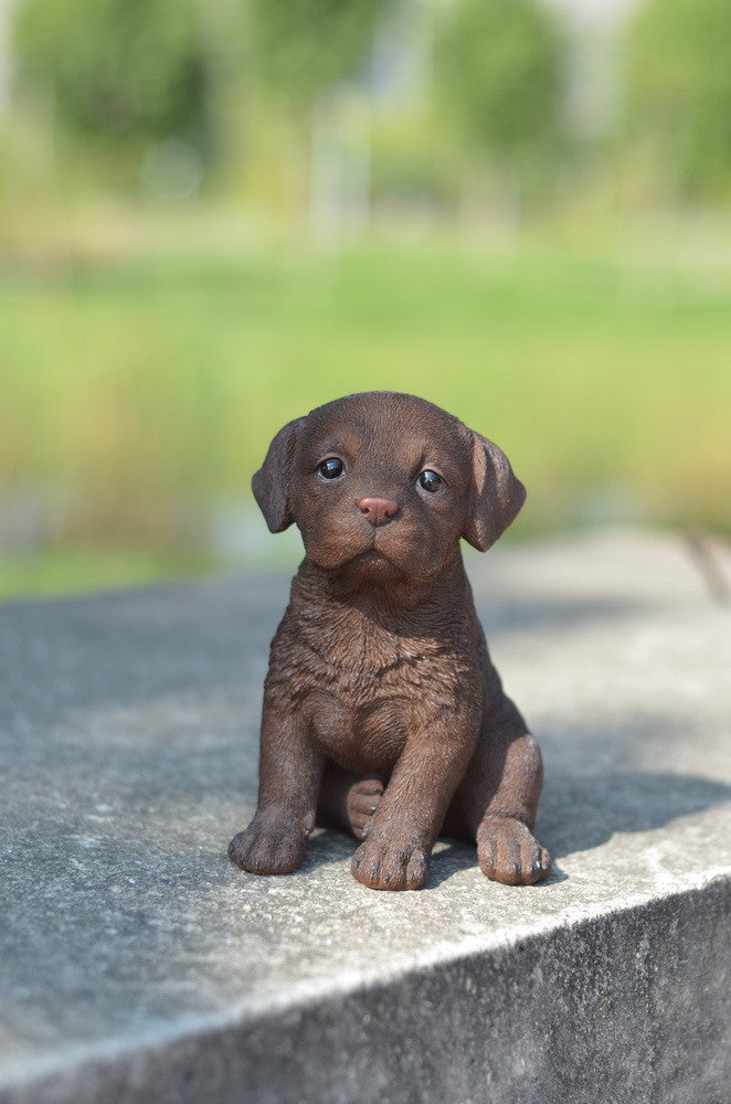 Chocolate Brown Labrador Puppy Statue