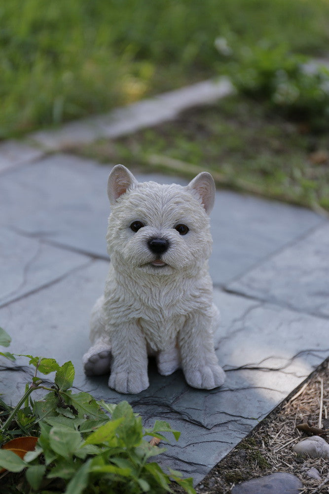 White Terrier Puppy Statue