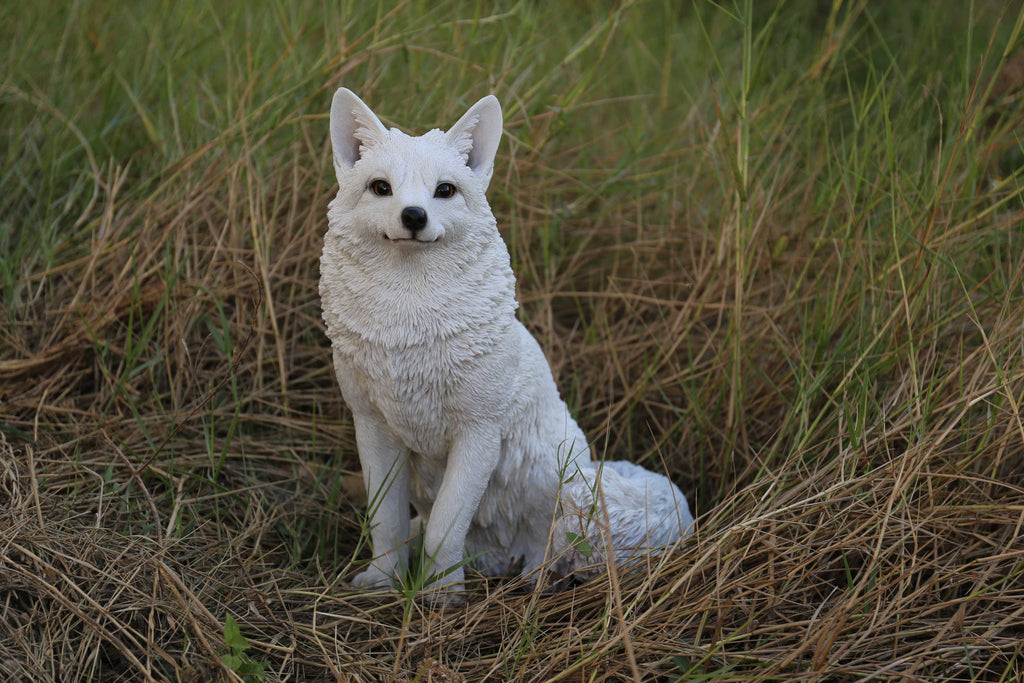 Snow Fox  Sitting Statue