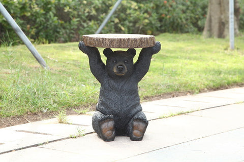 Black Bear Sitting Plant Stand 20 Inch Tall