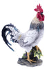 Rooster Statue with Black and White Feathers