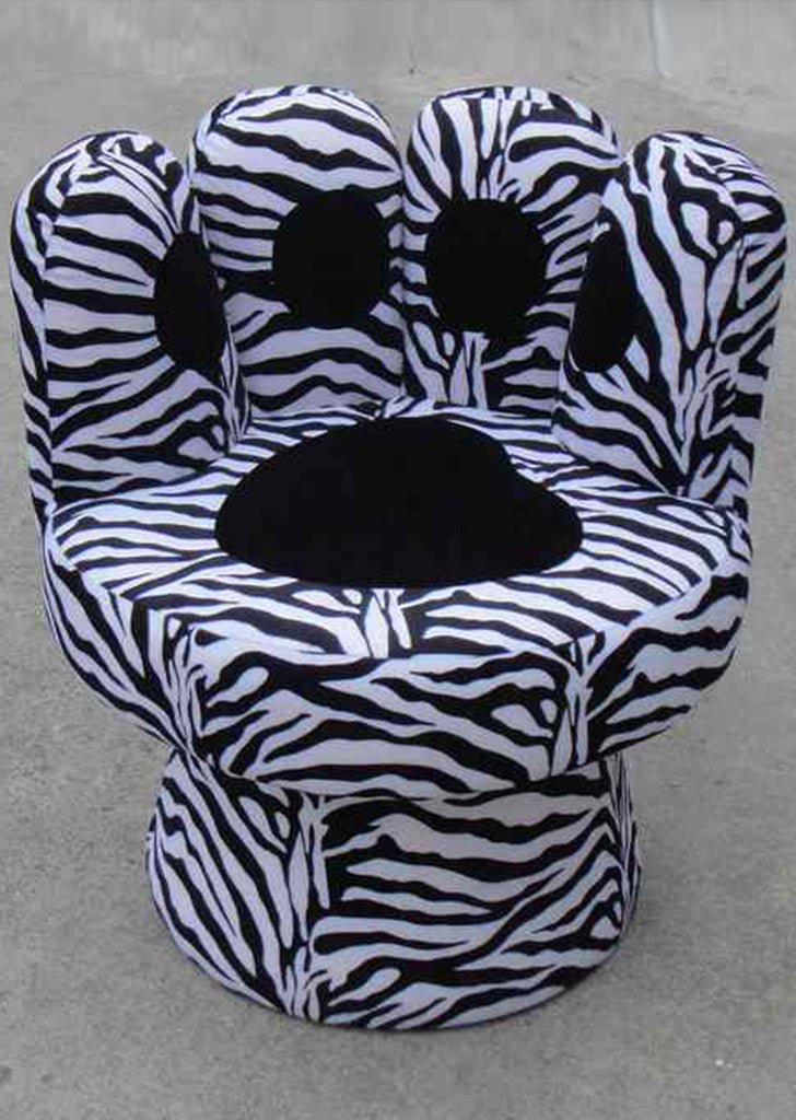 Swivel Paw Chair with Zebra Print